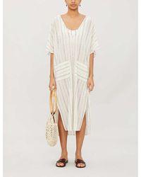 Eberjey Striped Metallic Cotton-blend Midi Dress - Multicolour