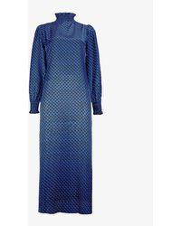 Claudie Pierlot Rosalia Geometric-print Woven Midi Dress - Blue