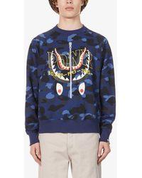 A Bathing Ape Ponr Camo-print Cotton-jersey Sweatshirt - Blue