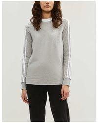 adidas Originals 3-stripes Embroidered-logo Cotton-jersey Top - Gray