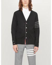 Thom Browne 4-bar Striped-sleeve Wool Cardigan - Black