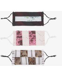 Ganni Printed Organic Cotton Face Coverings Set Of Three - Multicolour