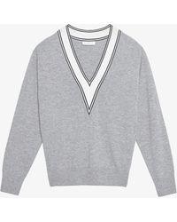 Sandro Camie Striped-trim Wool-blend Sweatshirt - Grey