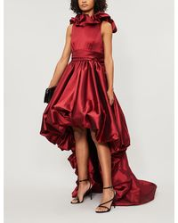 Zuhair Murad Akira Asymmetric Ruched Woven Gown - Red
