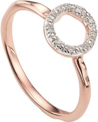 Monica Vinader - Riva Mini Circle 18ct Rose-gold Vermeil And Diamond Stacking Ring - Lyst