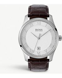 BOSS - 1513586 Masters Crocodile-emed Leather And Stainless Steel Watch - Lyst