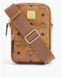 MCM Visetos Leather Cross-body Bag - Brown