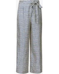 Max Mara Bray Wide Geometric-print High-rise Silk Trousers - Blue