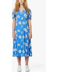 Kitri Nicola Floral-print Crepe Midi Tea Dress - Blue