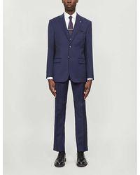 Ted Baker Debonair Dragonfly-print Modern-fit Wool Blazer - Blue