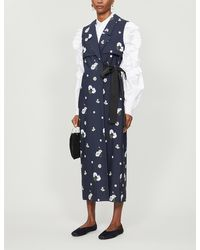 Erdem Rian Sleeveless Floral-embroidered Cotton Coat - Blue