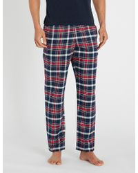 Emporio Armani - Checked Cotton Pyjama Bottoms - Lyst