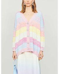Olivia Rubin Mika Diamanté-embellished Stretch-knit Cardigan - Pink