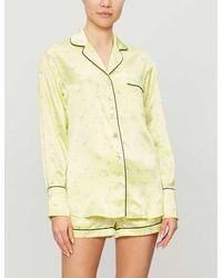 Olivia Von Halle Alba Silk Pyjama Set - Yellow