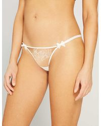 Agent Provocateur Lindie Mid-rise Embroidered Floral Mesh Thong - Natural