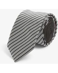 HUGO Striped Silk Tie - Black
