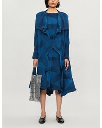 Issey Miyake Striped Pleated Woven Jacket - Blue