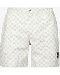 PREVU Trinity Logo-embroidered Geometric-print Swim Shorts - White