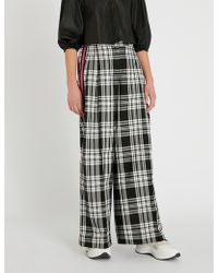 SERENA BUTE LONDON Contrast-trim Checked Wide-leg Woven Pants - Black