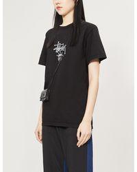 Stussy Logo-print Cotton-jersey T-shirt - Black