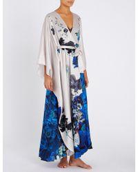 Meng Floral Peacock-print Silk-satin Kaftan - White