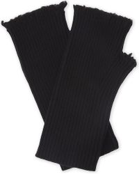 Zadig & Voltaire Kurt Cashmere Ribbed Mittens - Black