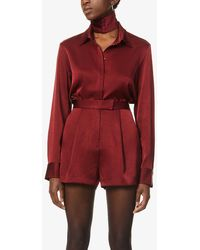 Alex Perry Avery Pleated High-rise Crepe Shorts - Red