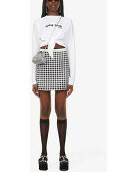 Miu Miu Logo-print Tie-waist Cotton-jersey Top - White