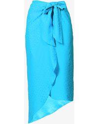Art Dealer Frilled High-waisted Silk Midi Skirt - Blue