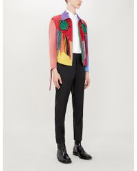 Gucci Fringed Embroidered Suede Jacket - Black