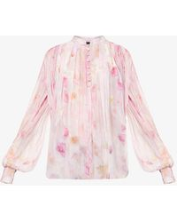 The Kooples Floral-print Loose-fit Chiffon Top - Pink