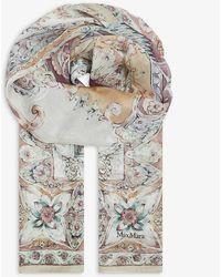 Max Mara Dimma Floral-print Silk Scarf - Gray