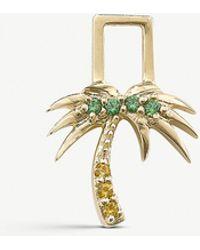 The Alkemistry Robinson Pelham 14ct Yellow Gold And Sapphire And Tsavorite Palm Tree Earwish - Metallic
