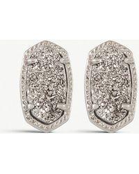 Kendra Scott - Ellie 14ct Silver-plated Cobalt Drusy Stud Earrings - Lyst