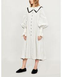 Renli Su Striped Woven Midi Dress - White