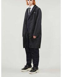 Off-White c/o Virgil Abloh Drawstring-hood Brand-print Shell Raincoat - Black