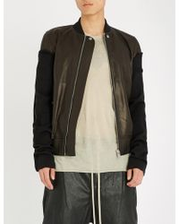 Rick Owens - Wool-trimmed Leather Bomber Jacket - Lyst