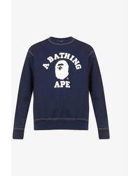 A Bathing Ape Mens Navy Logo-print Cotton-jersey Sweatshirt Xl - Blue
