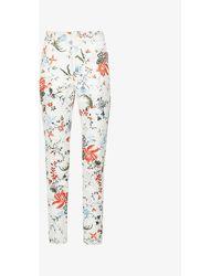 Erdem Milicent Floral-print Skinny Mid-rise Stretch-denim Jeans - Blue