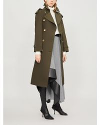 Burberry Protective Womens Dark Military Khaki Green Check The Heritage Long Westminster Cotton Trench Coat - Multicolour