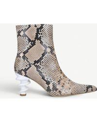 Kalda Island 70 Snake-embossed Leather Ankle Boots - Multicolor