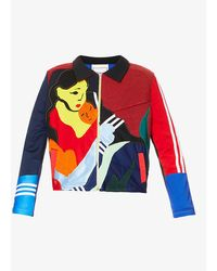 BETHANY WILLIAMS Abstract-print Upcycled Polyester And Cotton-blend Jacket - Red