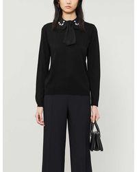 Claudie Pierlot Mignon Embellished-collar Wool Sweater - Black
