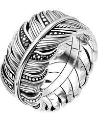 Thomas Sabo Rebel At Heart Feather Sterling Silver Ring - Metallic