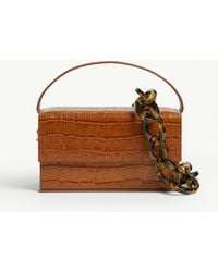 L'afshar Ida Croc-embossed Small Leather Top Handle Bag - Brown