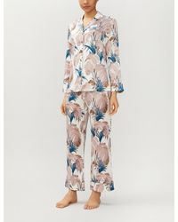 Olivia Von Halle Lila Pandora Feather-print Silk-satin Pyjama Set - Blue