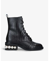 Nicholas Kirkwood Casati Pearl-embellished Leather Ankle Boots - Black
