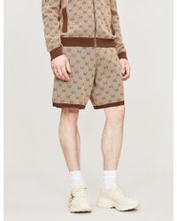 Gucci Logo-print Wool And Cotton-blend Shorts - Natural