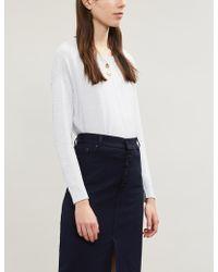 The White Company Contrast Stripe Cotton-blend Jumper - Blue