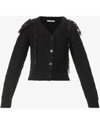 Cecilie Bahnsen Milo Cable-knit Wool-blend Cardigan - Black